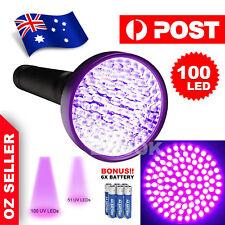 100 LED 395 nM UV Ultra Violet Flashlight Blacklight Torch Light Lamp Aluminum