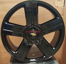 24 Wheels Gloss Black Rims Fit Chevy Silverado Suburban Tahoe GMC Yukon Denali
