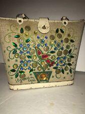 """Vintage 1960'S Enid Collins """"It Grows On Trees"""" Handbag Jeweled Tree Canvas"""
