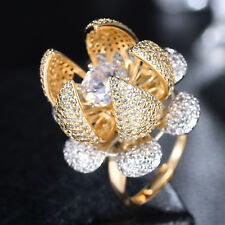 Big 3D Lotus Clear Crystal Sapphire Silver & Gold Filled Women Adjustable Ring