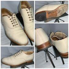 E.T. Wright Masters Leather Oxford Shoes 10.5 B Ivory Lace England YGI K0S-42