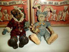 Lot of Two (2) Boyds Shoebox Bears Winnie & Bunnylove Nicholas Uncle Nick