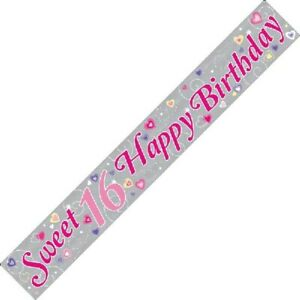 9ft Sweet 16 Happy Birthday Holographic Foil Banner 16th Party Decorations