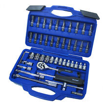"BlueSpot 46pc 1/4"" Dr Socket Set 72 Tooth Ratchet Handle Torx Hex PZ2 PH2 Bits"