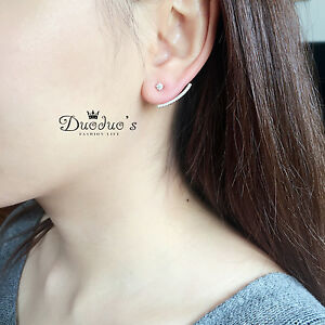 18K White Gold Plated Arc Stud Earrings with Crystal Front &Back Earrings
