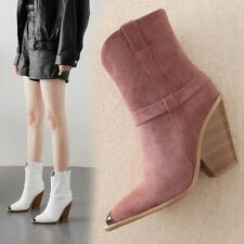 Womens Cowboy Chelsea Ankle Boots Wedge Heel Pointed Toe Pull On Ankle Boots New