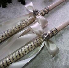 """2 24"""" Traditional Greek Orthodox Lambathes Lambade Wedding Baptism Candles"""
