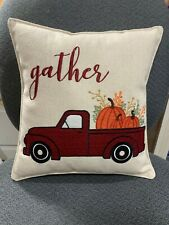 Handmade Applique Fall Red Truck Pumpkins Gather Square Throw Pillow Decor
