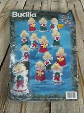 Bucilla Ornament Kit Holiday Angels Ornaments Set of 12 Felt Ornaments VTG