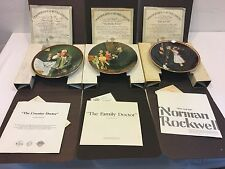 NORMAN ROCKWELL COLLECTOR PLATES. SET OF 3, WITH CERTIFICATES, IN ORIGINAL BOXES
