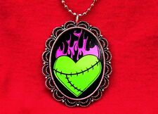 ZOMBIE FRANKENSTEIN HEART FLAMES TATTOO NECKLACE