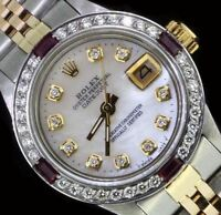 Rolex Ladies Datejust Oyster Stainless Gold Diamond Ruby Dial Bezel Watch