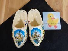 """HOLLAND Wooden Shoes 6"""" White Blue Windmill Flowers Decorative Souvenir Clogs"""