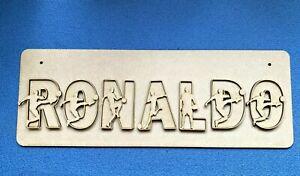 Wooden Ronaldo Football Door Plaque Personalised Signs and Letters with Plaque