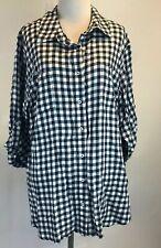 Laura Scott Plus Size 1X Navy & White Plaid Thin Flannel Button Blouse Shirt
