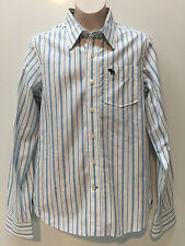 Abercrombie & Fitch Hombre Rayas Azul Botón Frontal Camisa Talla L