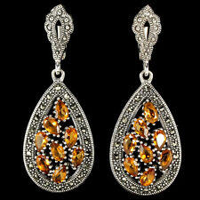 Sterling Silver 925 Large Genuine Marcasite & Natural Golden Citrine Earrings