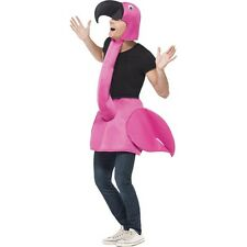 Women's Men's Pink Flamingo Fancy Dress Costume Uccello Natura Stag Hen taglia unica