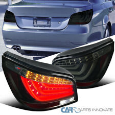 For 04-07 BMW E60 5-Series Glossy Black LED Bar Tail Lights Brake Lamps Pair