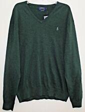 Polo Ralph Lauren Big & Tall Mens Green 100% Pima Cotton V-Neck Sweater NWT 3XB
