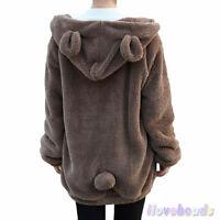 Women Soft Lovely  Ear Fleece Warm Sweatshirts Hooded Hoodies Coat Outwear
