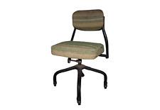 Vintage 1950s Harter Industrial Steel Swivel Rolling Chair Tweed Cloth Black