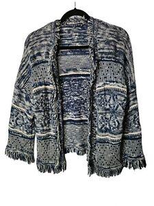 M&S Open Jacket Size M 14-16 Knit Cardigan Blue White Fringe Top