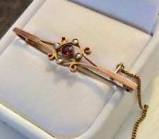 Lovely Quality Antique 9 Carat Rose Gold Garnet & Pearl Brooch Nice