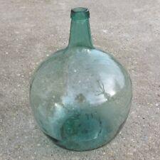 """Old Spanish GreenGlass Demijohn  """"Damajuana"""" Wine Bottle, """"Viresa"""", 16 Liters"""