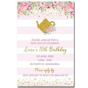 High Tea Party Personalised Birthday Invitation