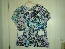 Scrubstar Woman'S Scrubs Top-Short Sleeve-Sz Xl- Turquoise Print-Cotton-Nwot