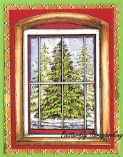 CHRISTMAS TREE WINDOW Wood Mounted Rubber Stamp NORTHWOODS P10115 New
