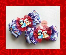 Girls/toddlers Handmade  Bluey / Christmas / Red / Purple Large Hair Bow Clip