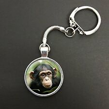 Chimpanzee Head Pendant On A Snake Keyring Ideal Birthday Gift N112