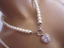 STRASS Collier Damen Hals Kette Modekette kurz Perlen Weiss Silber Herz Bling d6