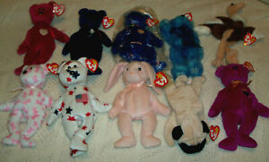LOT OF 10 BEANIE BABIES, ALL WITH TAGS, SOME NEW, GREAT VALUE, SEE LISTING BELOW