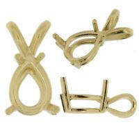 14K Yellow Gold Pear Pendant Setting Rabbit Ear Bail Mounting 0.15ct - 10.25ct
