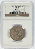 1904 J Germany 2 Mark 2M Silver Coin Bremen NGC Graded MS62