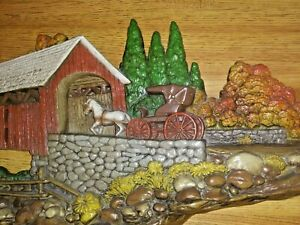 "Vintage 1980 BURWOOD PRODUCTS 2425 Covered Bridge (3D plastic wall hanging) 41""L"