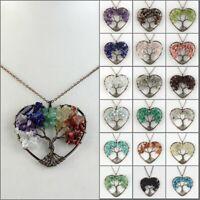 Natural Amethyst Tourmaline Gemstone Tree of Life Chakra Heart Pendant Necklace