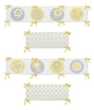 Garden Butterfly Flower Yellow Grey And White Girl Baby 4 Piece Crib Bumper Pad