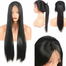Women Brazilian Remy Long Straight Lace Front Synthetic Wigs Silky Hair Black IN