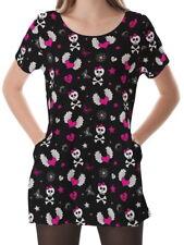 Skull And Heart Women Scoop Neckline Pockets Top Shirt Blouse b16 acr00520