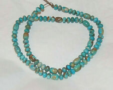 """FOX MINE BOULDER TURQUOISE BARREL AND RONDELLE BEADS - 18.5"""" Strand - 1263C"""