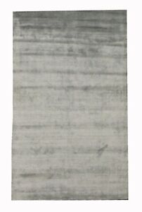 "5X8 Silk Modern Handmade Area Rug Light-Green Contemporary Carpet (5'1"" x 8')"