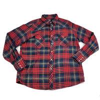 Wrangler Western Wear Mens XL Shirt Pearl Snap Plaid Long Sleeve