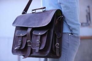 Hiking Vintage Leather Messenger Bag Business Briefcase Laptop Satchel Sling Bag