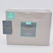 """Royal Sateen 4 Piece Sheet Set 1200 Thread Count 16"""" in Deep Taupe Size King"""