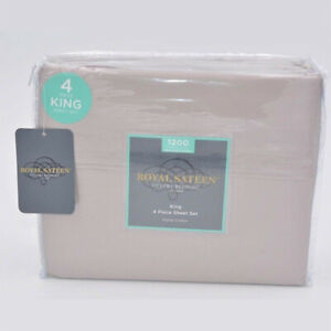 "Royal Sateen 4 Piece Sheet Set 1200 Thread Count 16"" in Deep Taupe Size King"