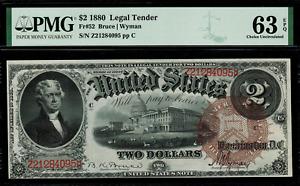 1880 $2 Legal Tender FR-52 Graded PMG 63 EPQ Choice Uncirculated